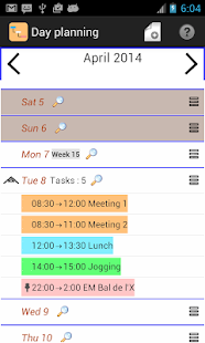 Day planning - náhled