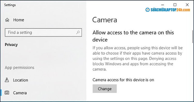 Cài đặt Camera access for this device is on