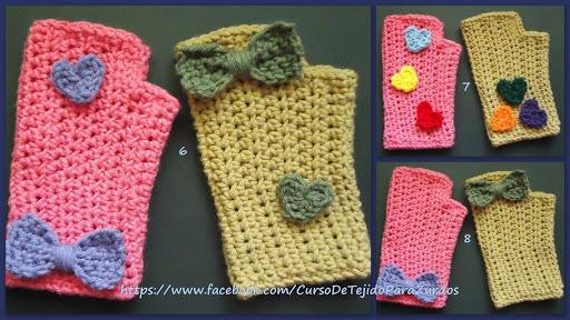 corazones y moños tejidos al crochet ganchillo para zurdos