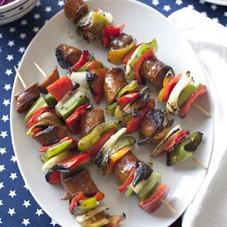 Sausage-Pepper Kabobs.