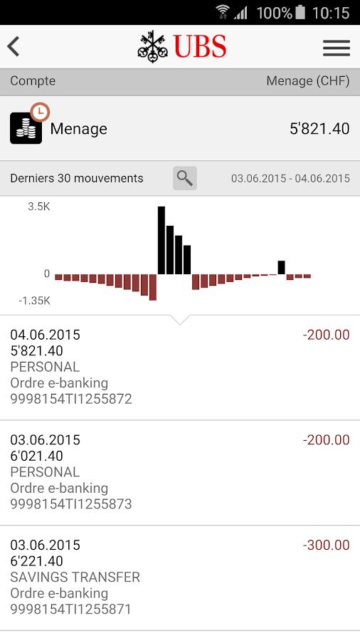 UBS Mobile Banking– Capture d'écran