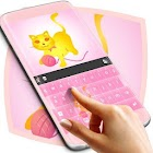 Keyboard do tema do gato rosa icon