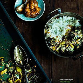 South Indian Style Roasted Flower Sprouts with Turmeric Onions.