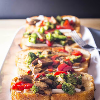 Open Faced Portobello Red Pepper Sandwich