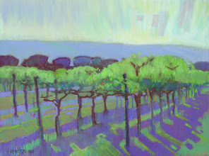 Photo: Brentwood Vineyard, pastel by Nancy Roberts, copyright 2014. Private collection.