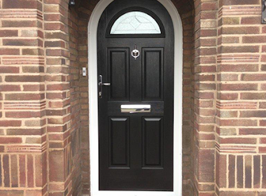 Composit Front Door with Window Arch