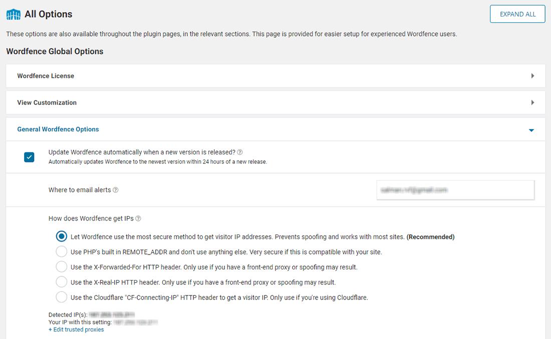 Bảng điều khiển Wordfence All Options