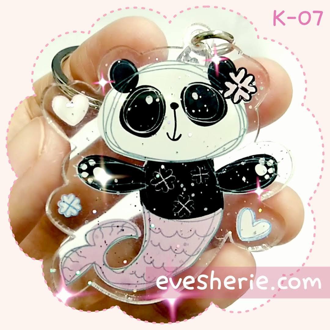 พวงกุญแจ แพนด้า นางเงือก cute panda mermaid keychain