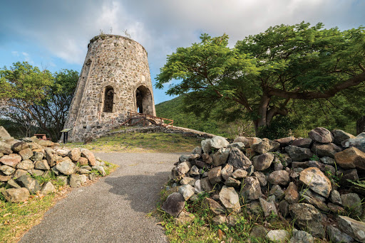 Stroll through the grounds of the old sugar mill on St. John in the U.S. Virgin Islands.
