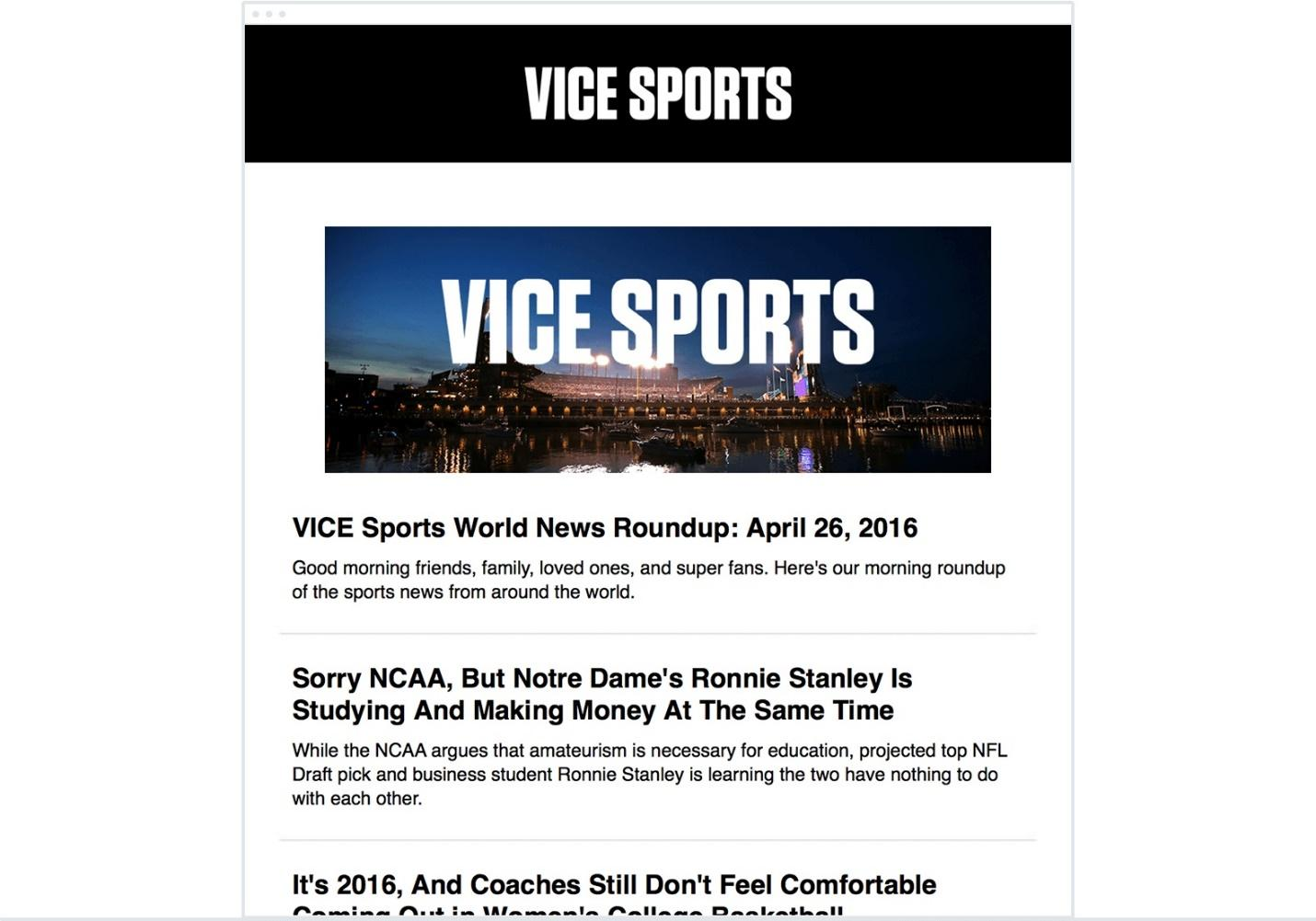 Take this example from Vice Sports—they include a variety of information that their readers may find interesting. What they don't do is give it all away, enticing the reader to click the links to learn more.