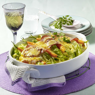 Cabbage, Bacon and Carrot Gratin.