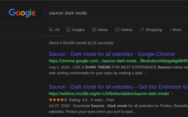Sauron - Dark mode for all websites