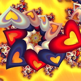 Hearts by Cassy 67 - Illustration Abstract & Patterns ( abstract, hearts, heart, colorful, swirl, wallpaper, spiral, digital, valentine´s day, love, digital art, harmony, fractal, fractals )
