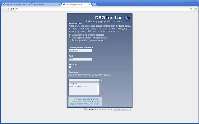 DBG debugger toolbar