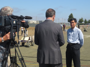 Photo: Terry Fong telling NBC about the rover tests: ESA astronaut Luca Parmitano will pilot the rober from the orbiting ISS!