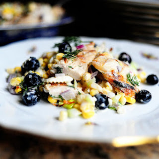 Grilled Chicken Salad with Feta, Fresh Corn, and Blueberries Recipe