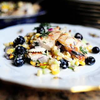 Grilled Chicken Salad with Feta, Fresh Corn, and Blueberries.