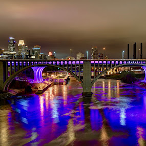 Purple Rain by Dave Knapp - City,  Street & Park  Skylines ( purple, sklines, minneapolis, night, bridge )