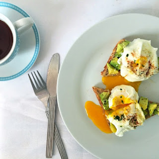 Poached Eggs And Avocado On Toast.