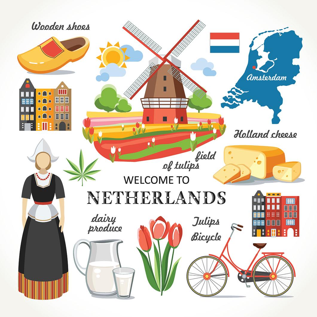Nederlandse iconen. Kaas, molens, amsterdam en natuurlijk wiet.