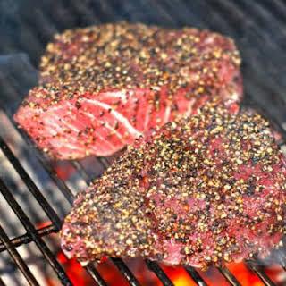 Seared Peppercorn Encrusted Tuna Steaks.