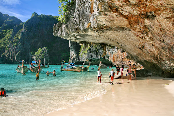 Walk at the world famous beach of Maya Bay