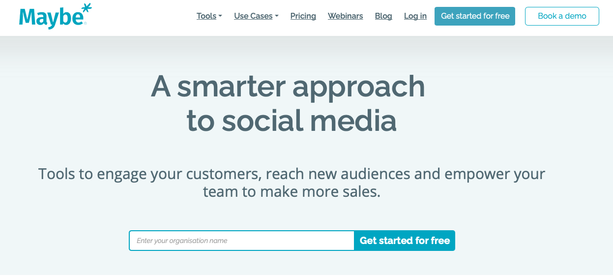 Screen shot of the Maybe* homepage