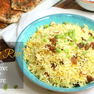 Saffron Rice with Almonds & Raisins.