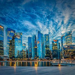 Textured Skyline by GokulaGiridaran Mahalingam - City,  Street & Park  Skylines ( skyline, mbs, marina bay financial centre, singapore,  )