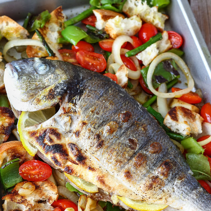 Grilled Whole Fish with Italian Bread Salad Recipe