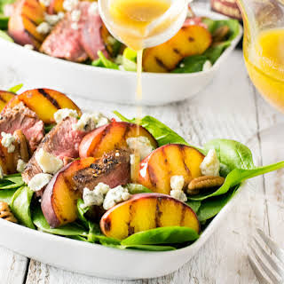 Grilled Steak and Peach Salad with Blue Cheese and Red Wine Vinaigrette.