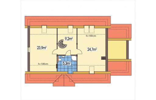 Azalia II wersja C z pojedynczym garażem - Rzut poddasza
