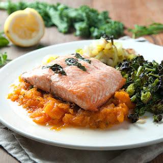 Roasted Basil Salmon Fillet With Rosemary Squash Mash & Kale