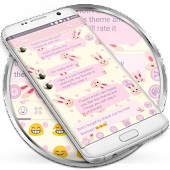 SMS Messages Rabbit Pink Theme