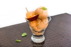 Fresh Cantaloupe Peach Mint Sorbet