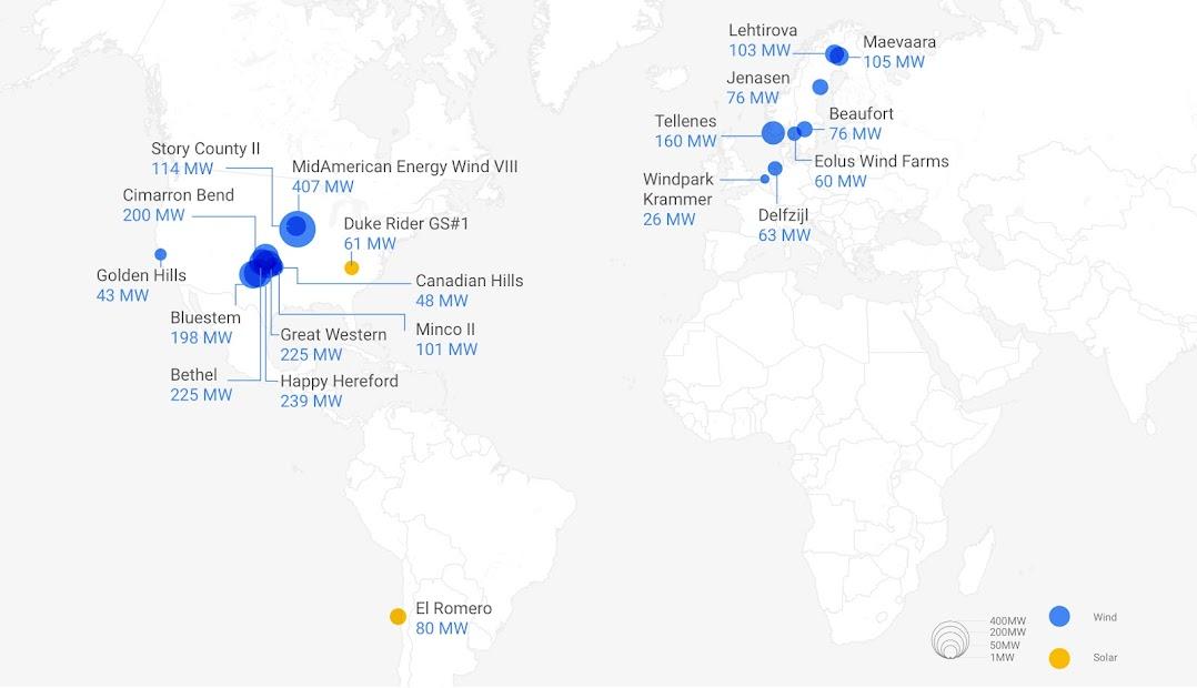 Google 購電合約的位置和電量記錄