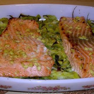 Ginger, Lemon & Honey Marinated Salmon With Leeks and New Potato & Chives Mash.