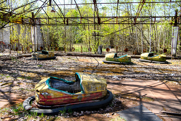 An abandoned amusement park in the city center of Prypiat in the Chornobyl exclusion zone. Picture: MAXYM MARUSENKO/NURPHOTO/ GETTY IMAGES