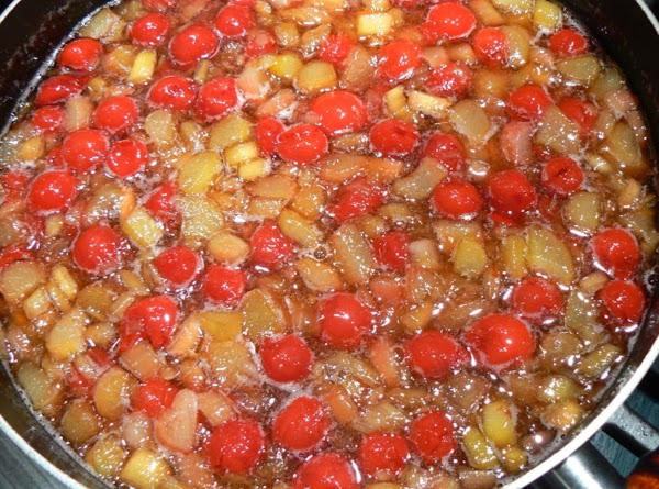 Chop up fresh rhubarb and add to a large pot with the water. Cook...