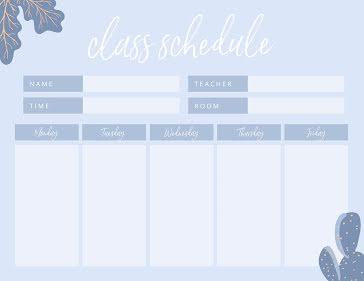 Weekly Class Schedule - Weekly Planner template