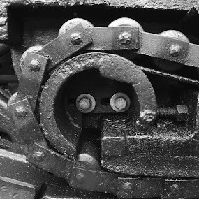 Old Rail Engine by Susan Englert - Black & White Objects & Still Life ( greasy, engine, metal, chain, railroad, train, bolts, iron,  )