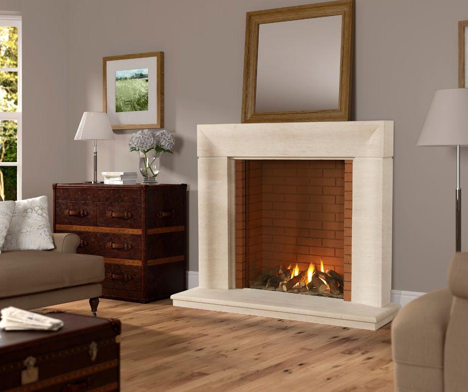 Stone open fireplace