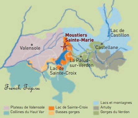 Что посмотреть в окрестностях Moustiers-Sainte-Marie (Мустье-Сен-Мари): Вердлнское ущелье (Gorges du Verdon), Плато Валенсколь и лавандовые поля (valensole)