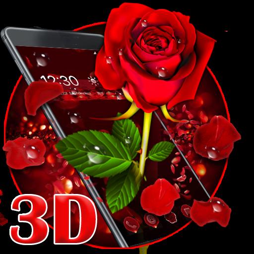3D valentine love rose theme