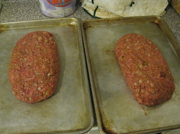 Form the meatloaf into 2 loaves.  I usually do this freeform on a...