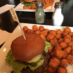 Bison burger with GF bun and sweet potato tater tots. Delish!