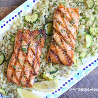 Grilled Salmon with Cauliflower Rice.