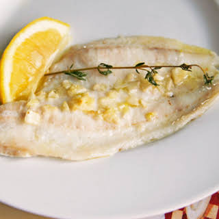 Oven Poached Flounder with Garlic and Olive Oil.