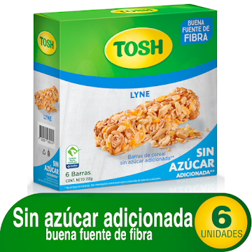 Barra de Cereal Tosh   Lyne Sin Azucar Caja x 6Uni