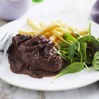 Steak with Red Wine and Mushroom Sauce.
